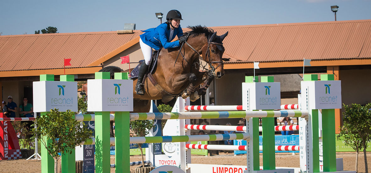 Samantha Mcintosh & Lets Win winners of the Revil FEI World Cup Qualifier in Polokwane